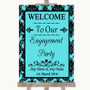 Tiffany Blue Damask Welcome To Our Engagement Party Personalized Wedding Sign
