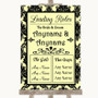 Yellow Damask Who's Who Leading Roles Personalized Wedding Sign