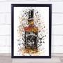 Watercolour Splatter Black Jack Whiskey Bottle Wall Art Print