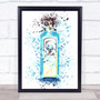 Watercolour Splatter Sapphire Blue Gin Bottle Wall Art Print