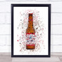 Watercolour Splatter Buddy Lager Bottle Wall Art Print