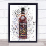 Watercolour Splatter Dark Original Rum Bottle Wall Art Print