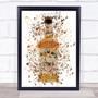 Watercolour Splatter Honey Jack Whiskey Bottle Wall Art Print