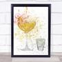 Watercolour Splatter Pornstar Martini Cocktail Glass Wall Art Print