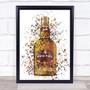 Watercolour Splatter Royal Whiskey Bottle Wall Art Print