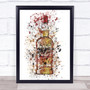 Watercolour Splatter Southern Whiskey Bottle Wall Art Print