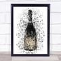 Watercolour Splatter Vintage Dark Champagne Bottle Wall Art Print