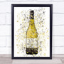 Watercolor Splatter White Wine Bottle Decorative Wall Art Print