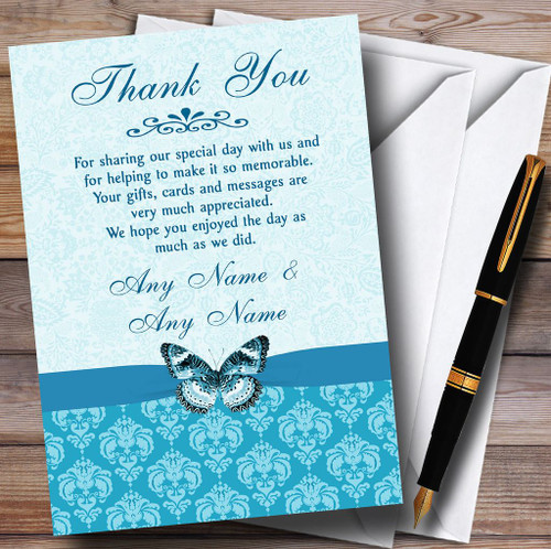 Personalised wedding thank you cards WHITE GOLD DAMASK PHOTO FREE ENVELOPES /& DR