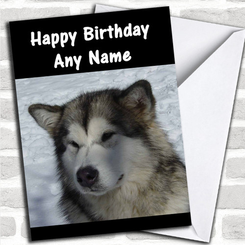 Alaskan Malamute Dog Personalized Birthday Card