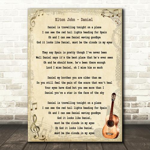 Elton John Daniel Song Lyric Vintage Quote Print Red Heart Print