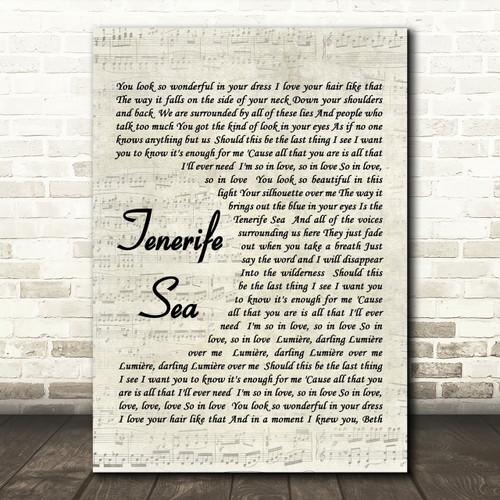 Tenerife Sea Quote Song Lyric Heart Print