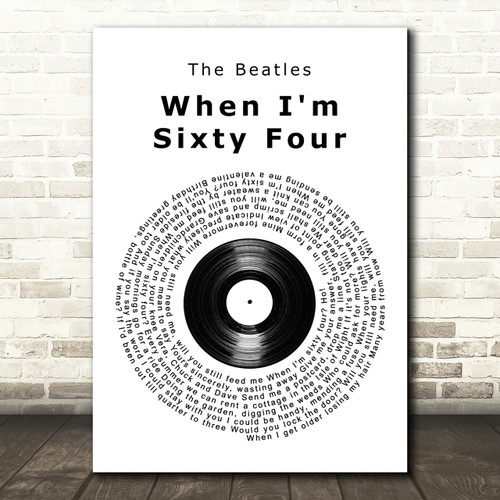 When I/'m Sixty Four Black Guitar Song Lyric Quote Print