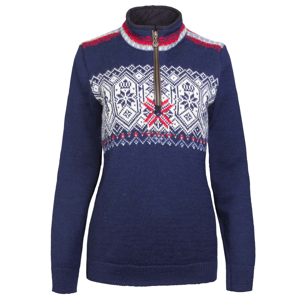 Dale of Norway Norge 1/4 Zip Sweater, Ladies - Navy with White Multicolor, 93721-C