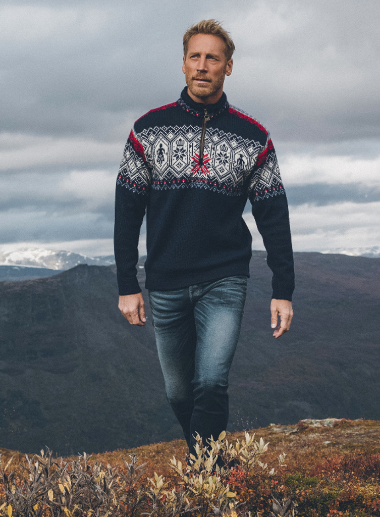 Man Wearing Dale of Norway Norge 1/4 Zip Sweater, Mens - Navy with White Multicolor, 93731-C