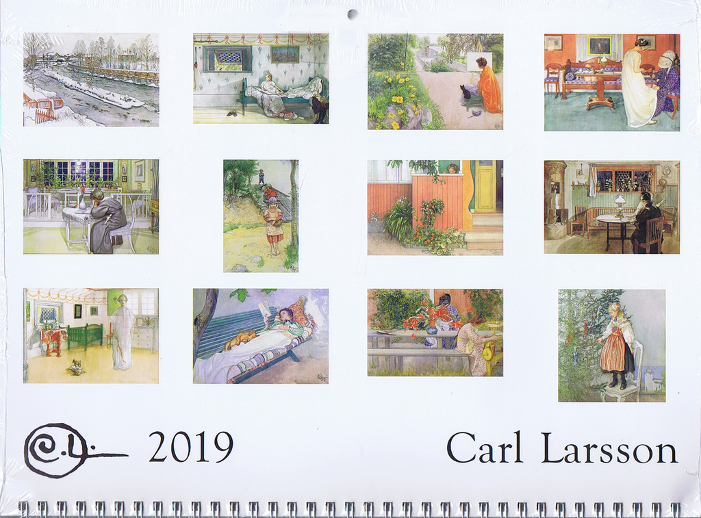 2019 Carl Larsson Calendar Back Image with Month Details