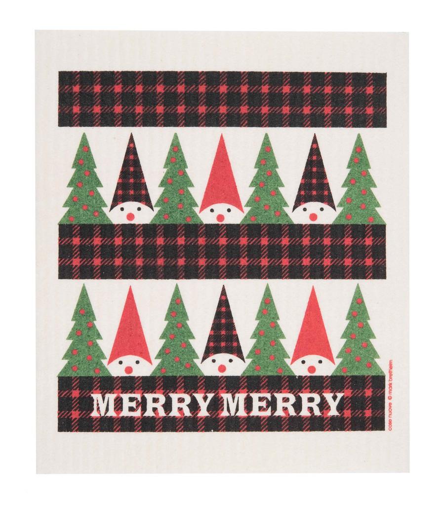 Swedish Christmas Dishcloth - Plaid Tomte