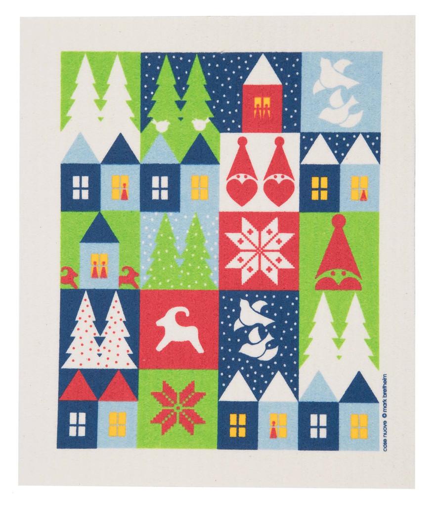 Swedish Christmas Dishcloth - Holiday Houses