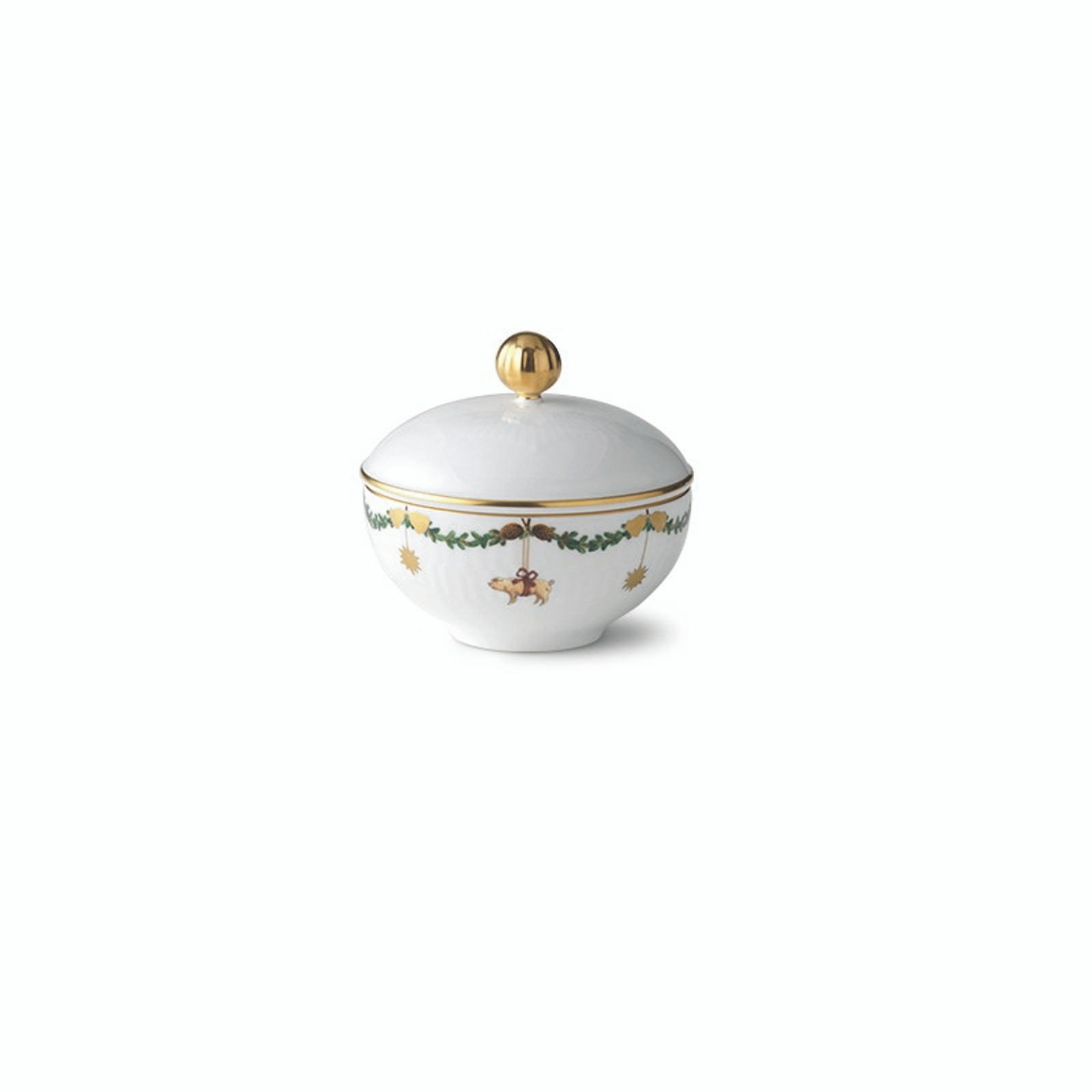 Royal Copenhagen Star Fluted Christmas Sugar Bowl with Lid, 3.5""