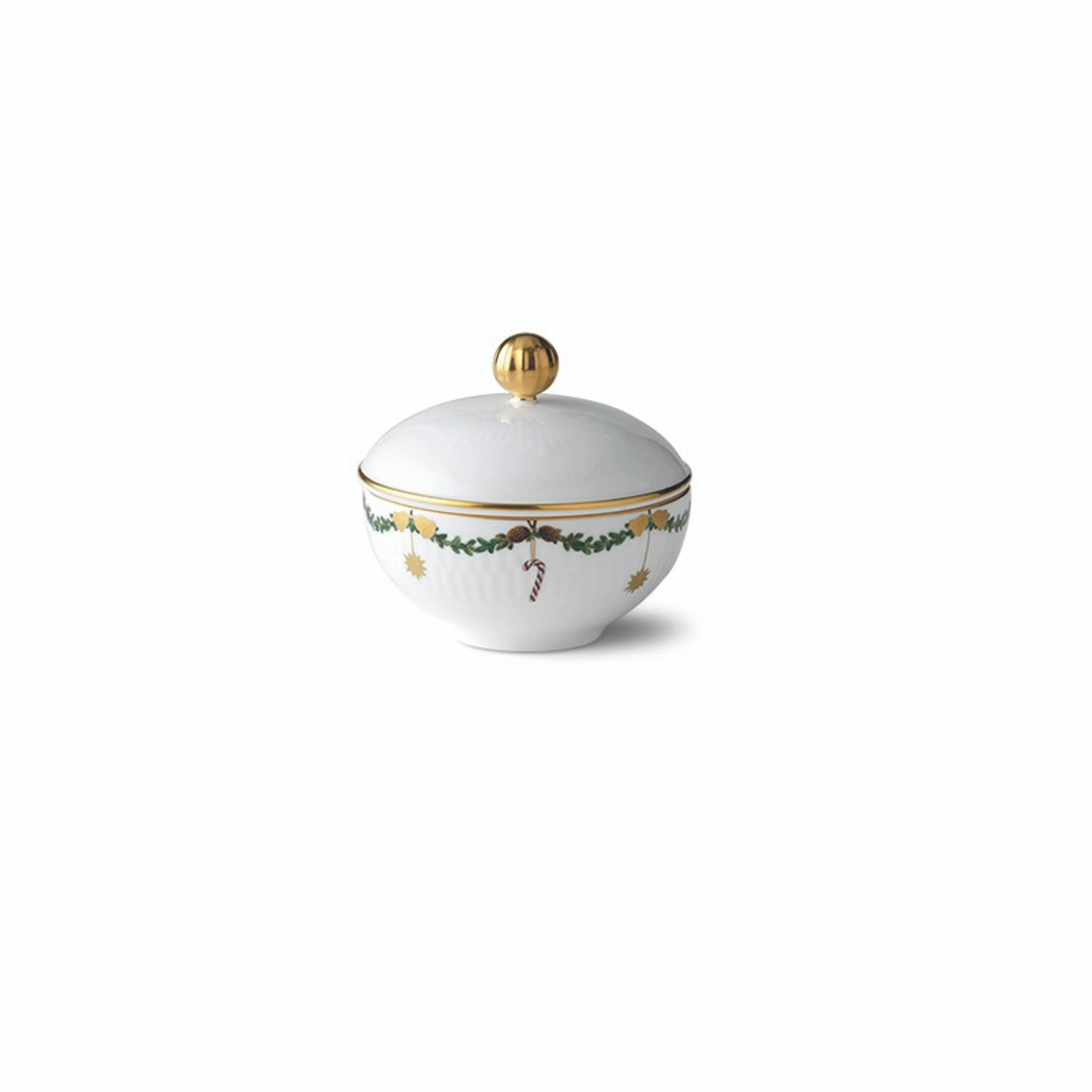 "Royal Copenhagen Star Fluted Christmas Sugar Bowl with Lid, 3.5"" (1021103)"