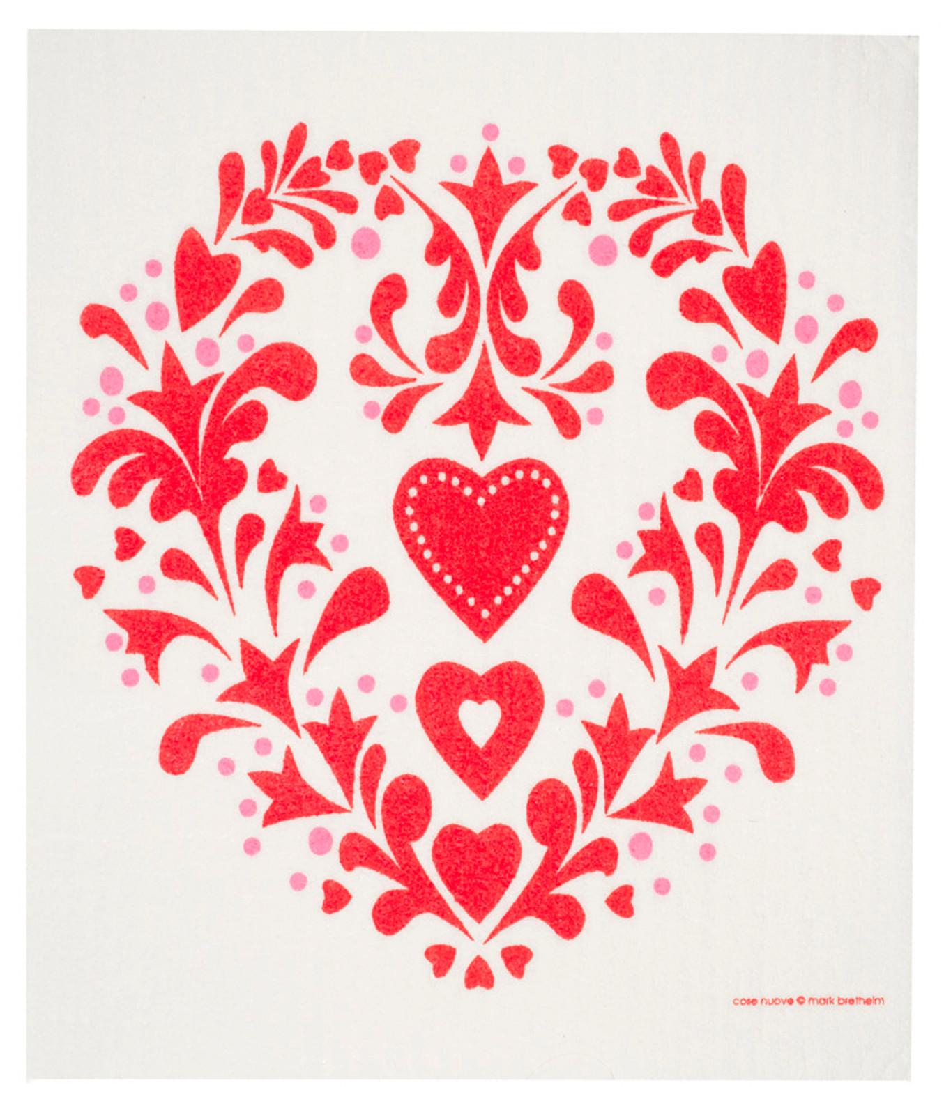 Swedish dish cloth, Red Folk Heart design