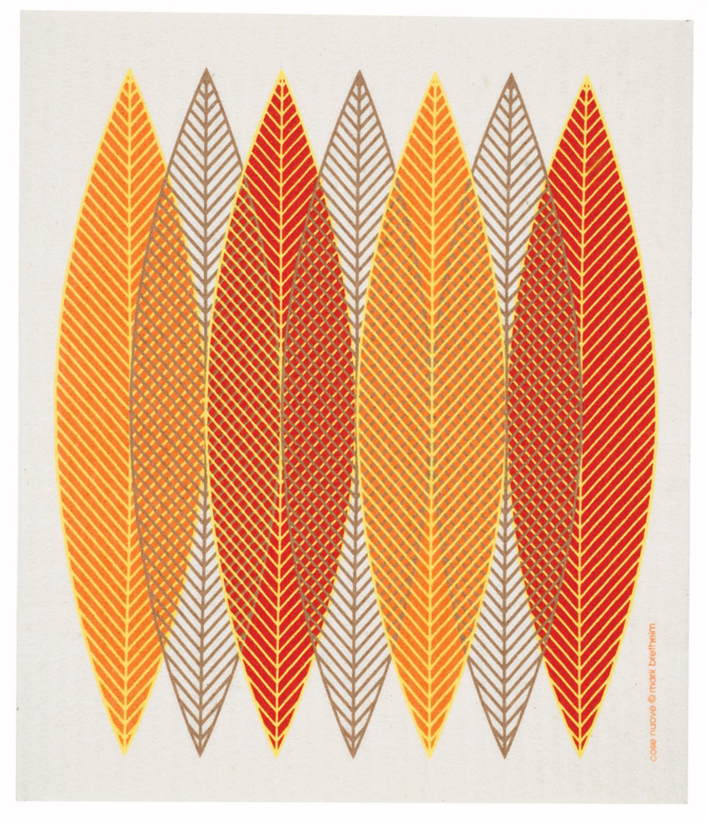 Swedish dish cloth, Orange Blade Leaves design