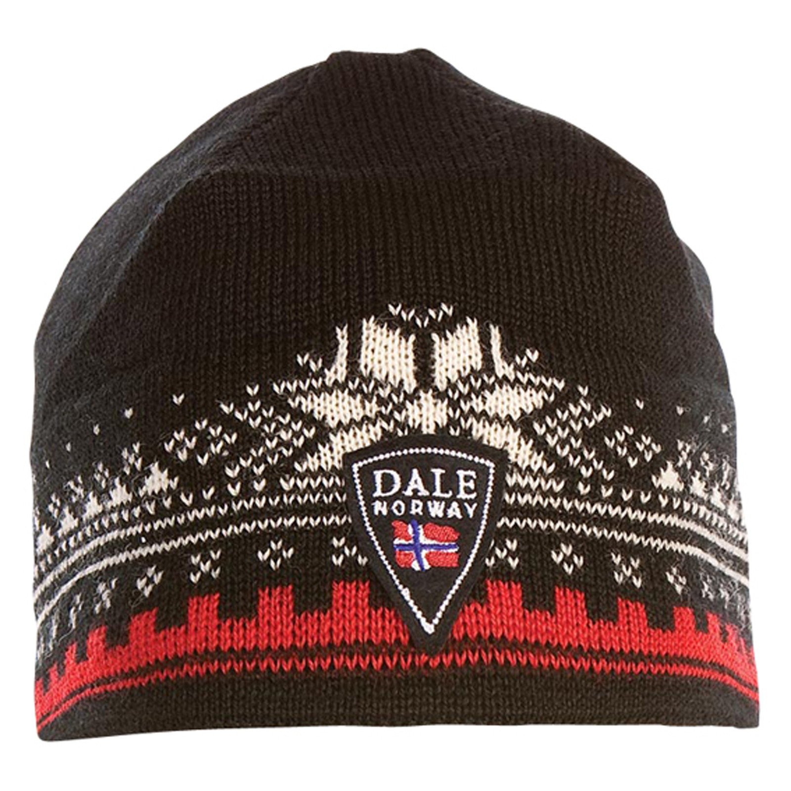 Front of Dale of Norway 125th Anniversary Unisex Hat in Black/Raspberry/Off White, 47931-F