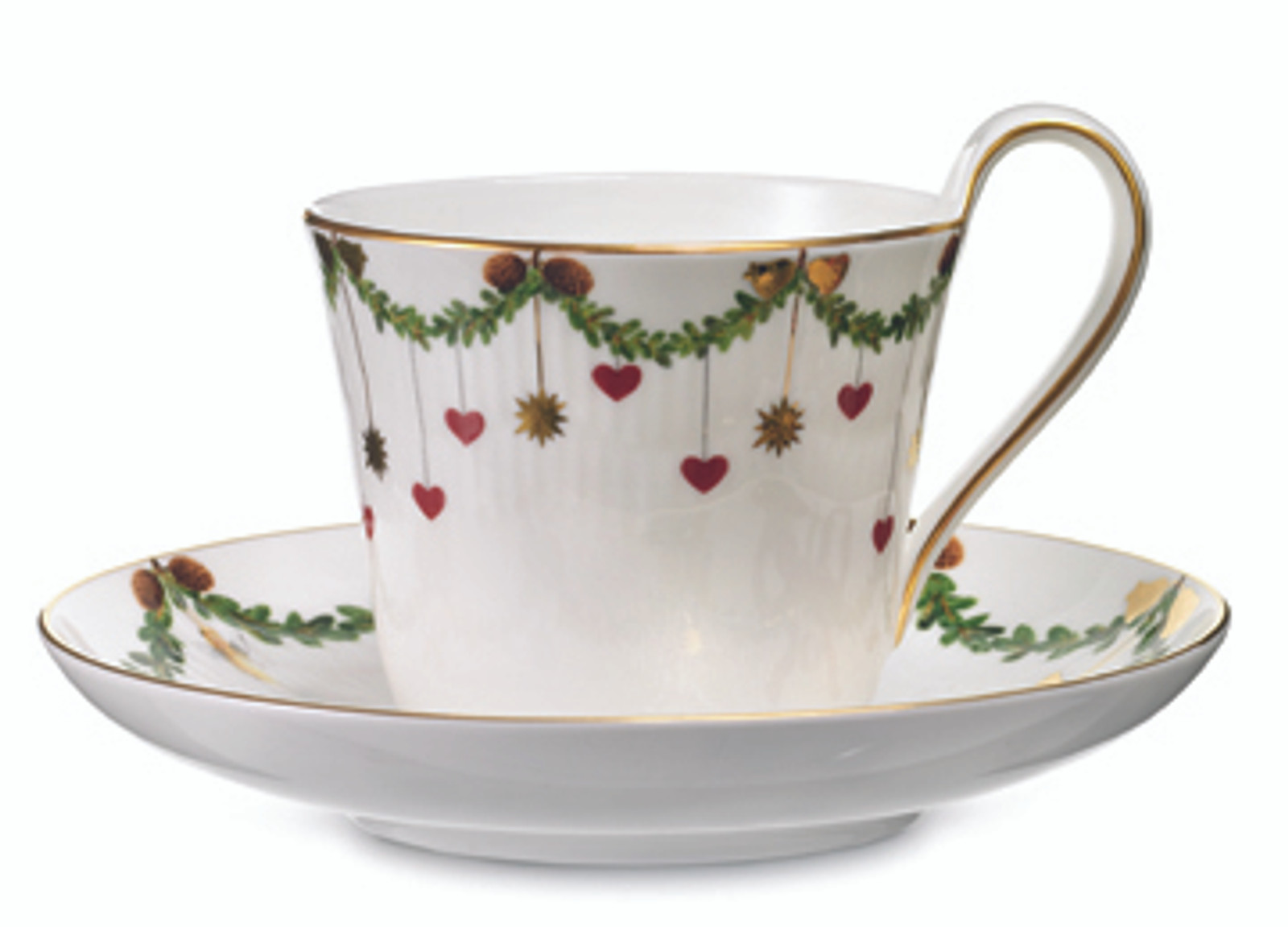 Royal Copenhagen Star Fluted Christmas High Handled Cup and Saucer