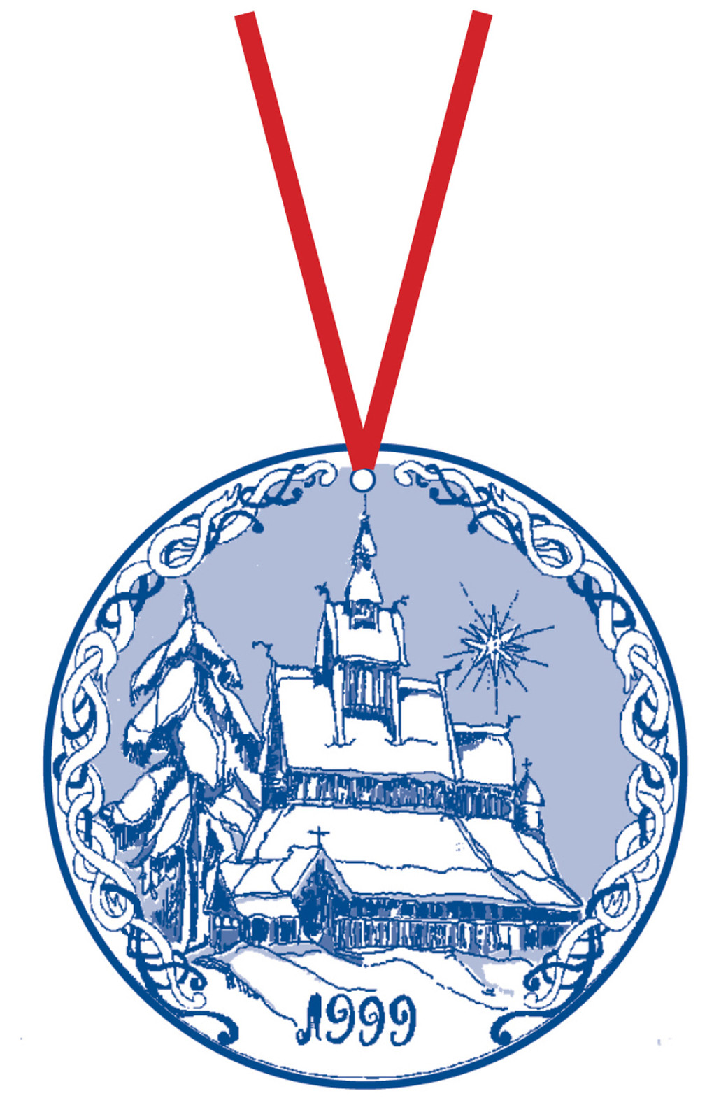 1999 Stav Church Ornament - Hopperstad. Made by Norse Traditions and available at The Nordic Shop.