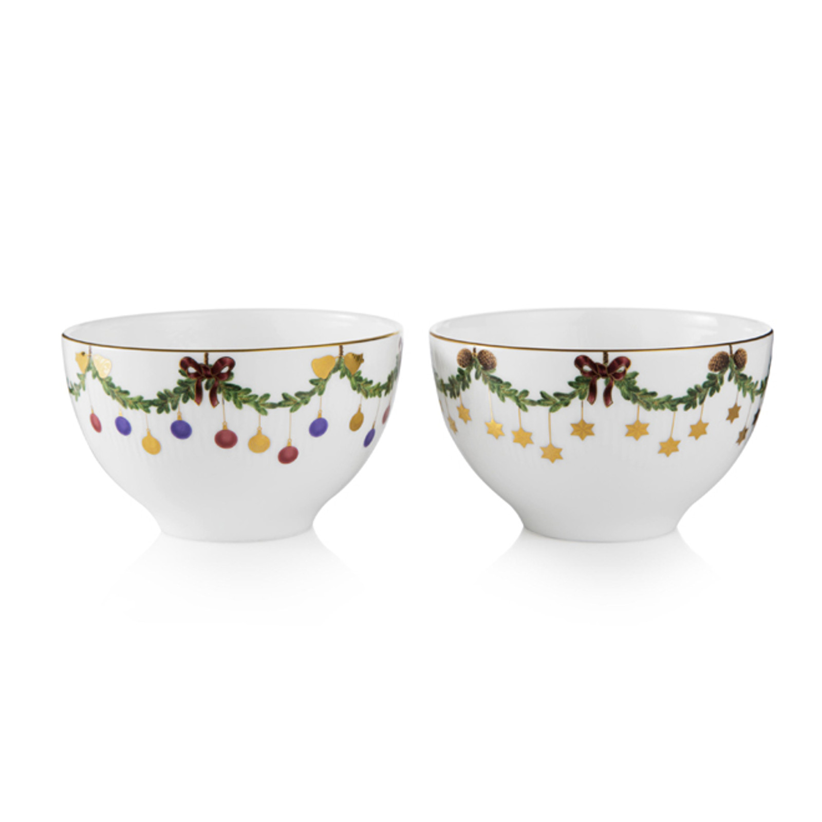 Royal Copenhagen Star Fluted Christmas Chocolate Bowls
