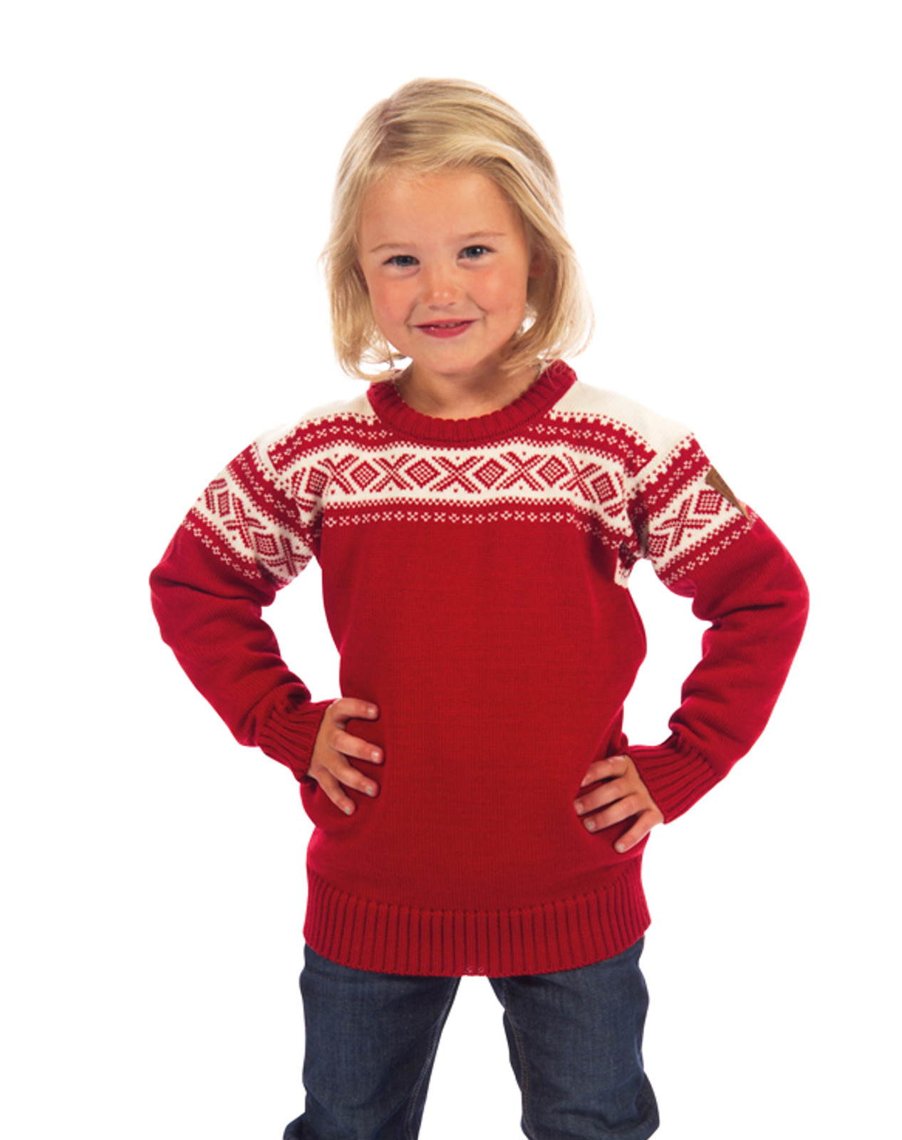 Child modeling the Dale of Norway, Cortina kids sweater in Raspberry/Off White, 92991-B