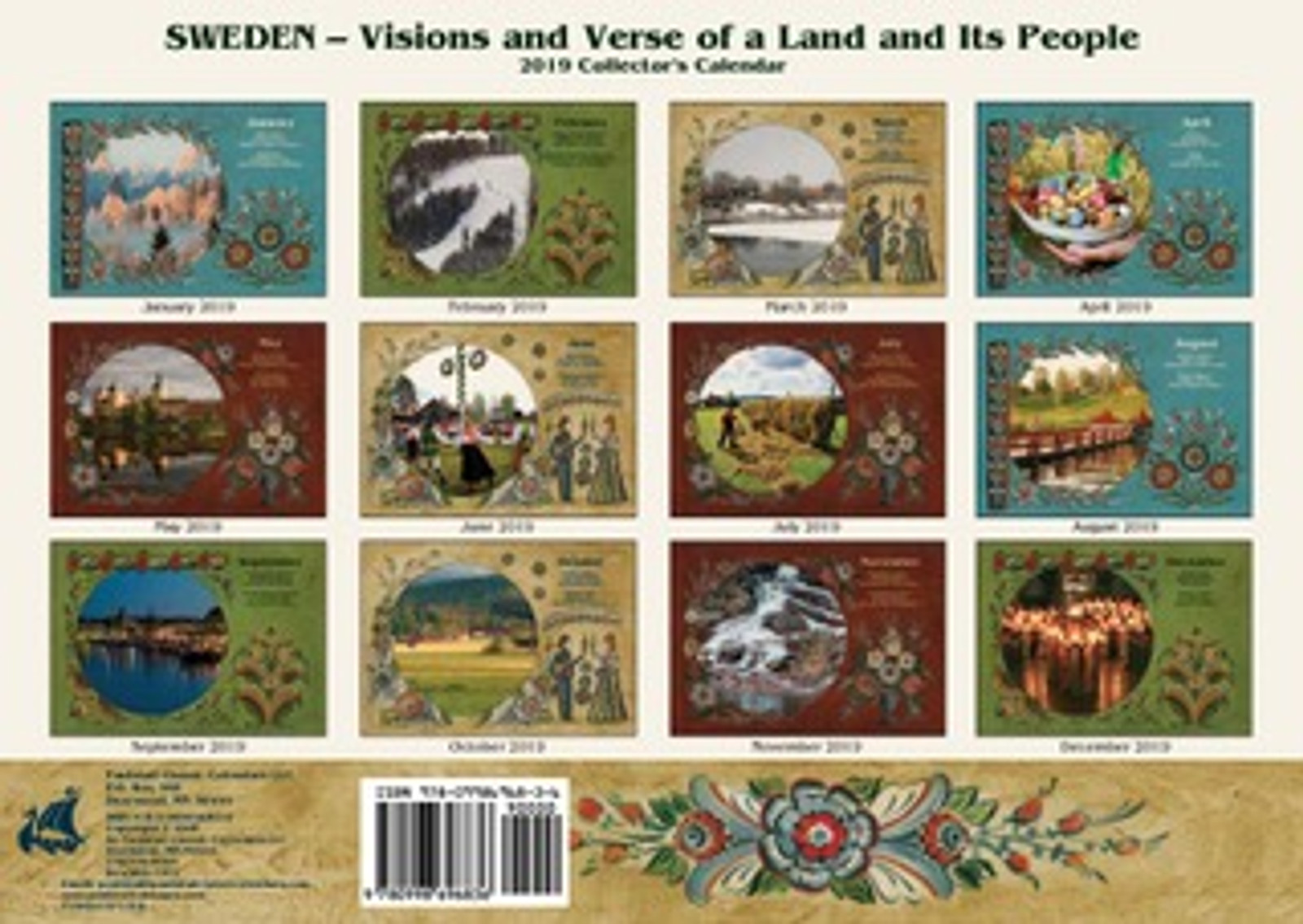 Back of the Paulstad 2019 Sweden Visions and Verse Calendar