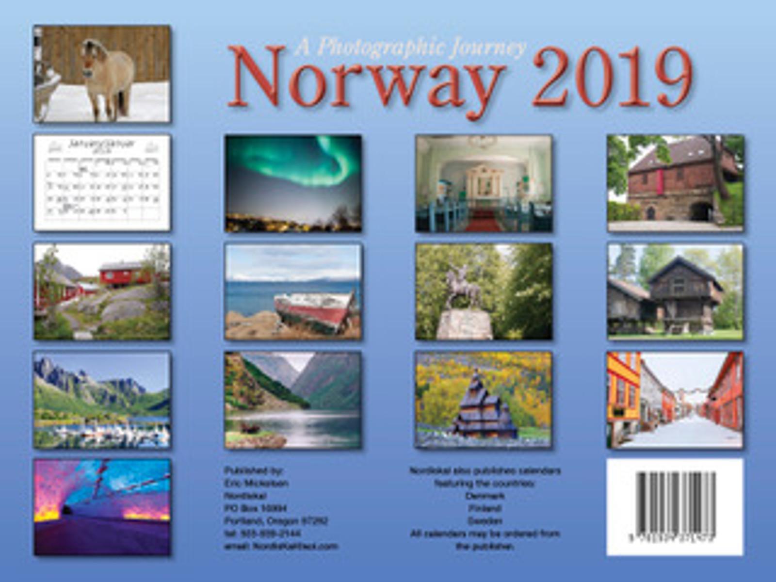 2019 Nordiskal Norway Calendar in Photographs - Back Cover