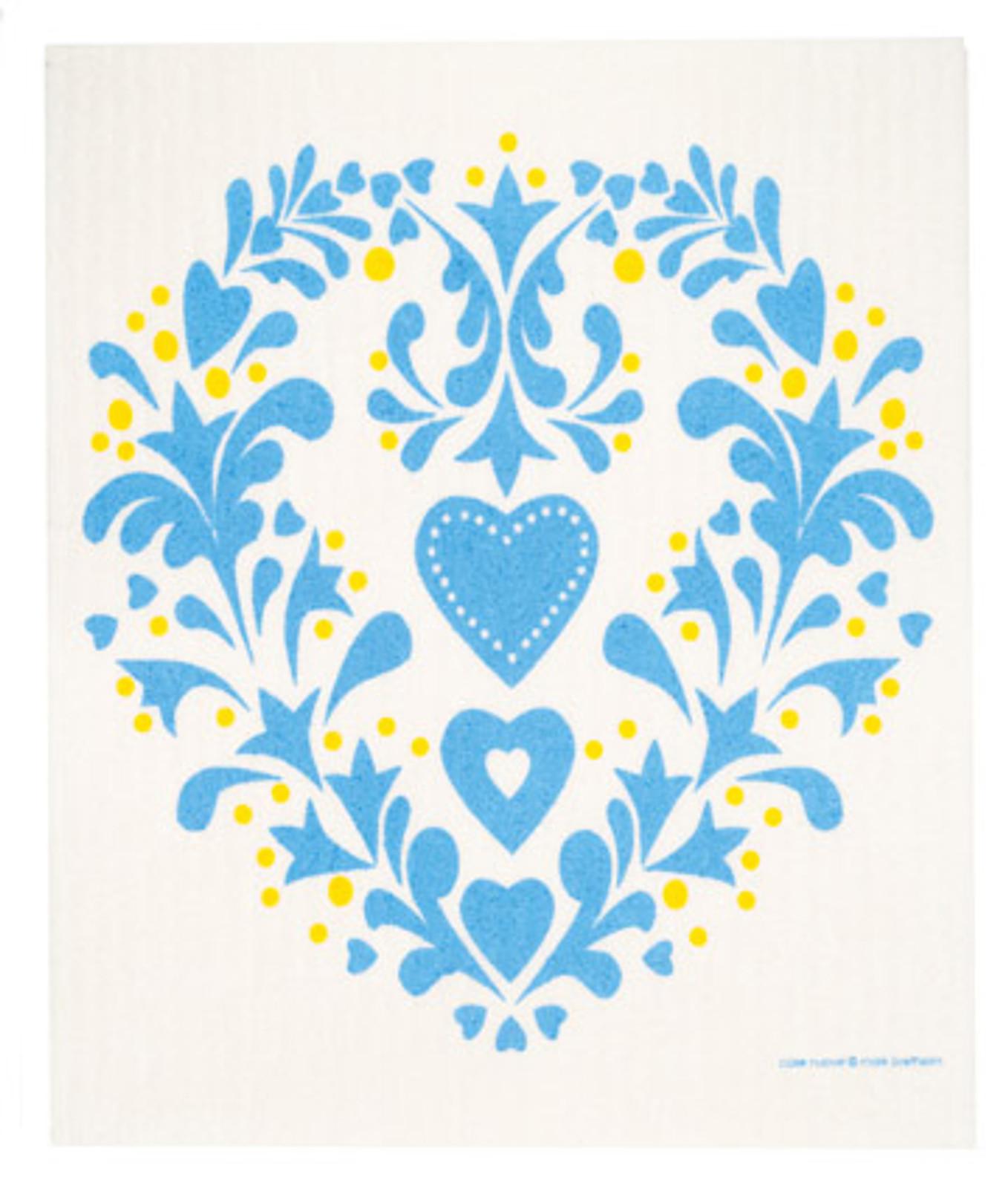 Swedish dish cloth, Blue Folk Heart design