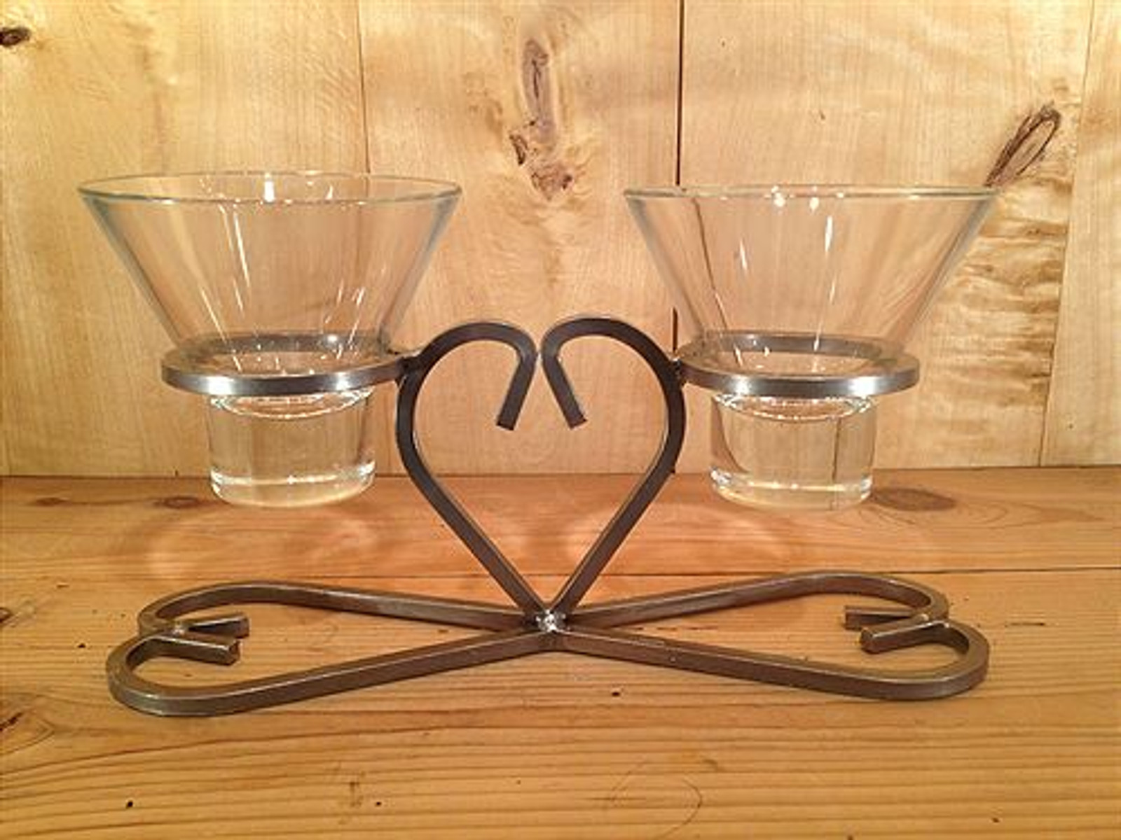 Danish Iron Heart Two Cup Candle Holder