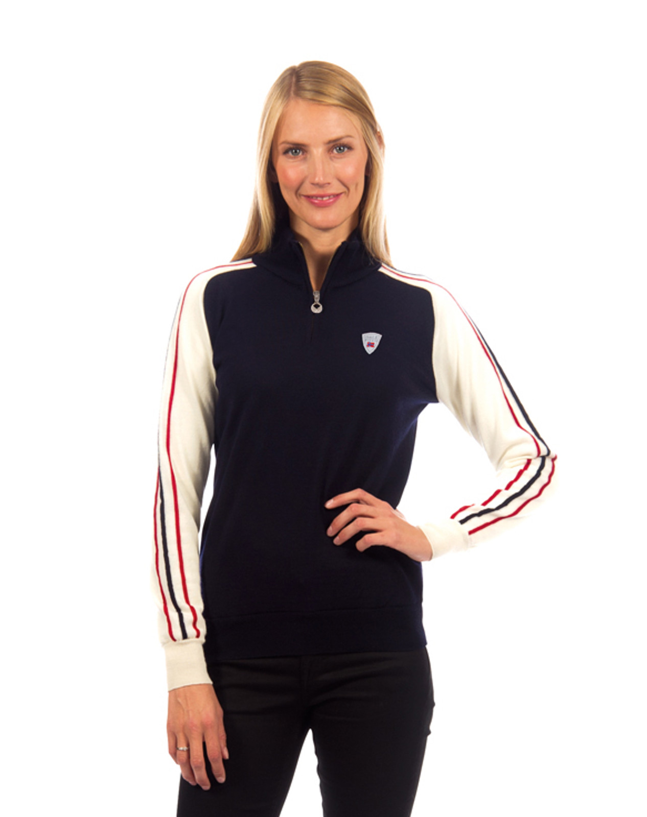Model wearing the Dale of Norway, Flagg ladies sweater in Navy/Off White/Raspberry, 92951-C