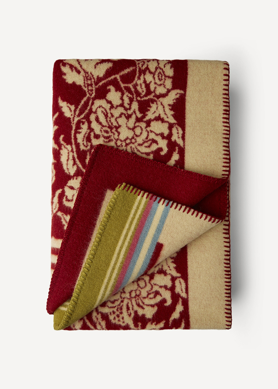 Oleana Blanket with Floral Pattern and Accent Stripes, 203A Red