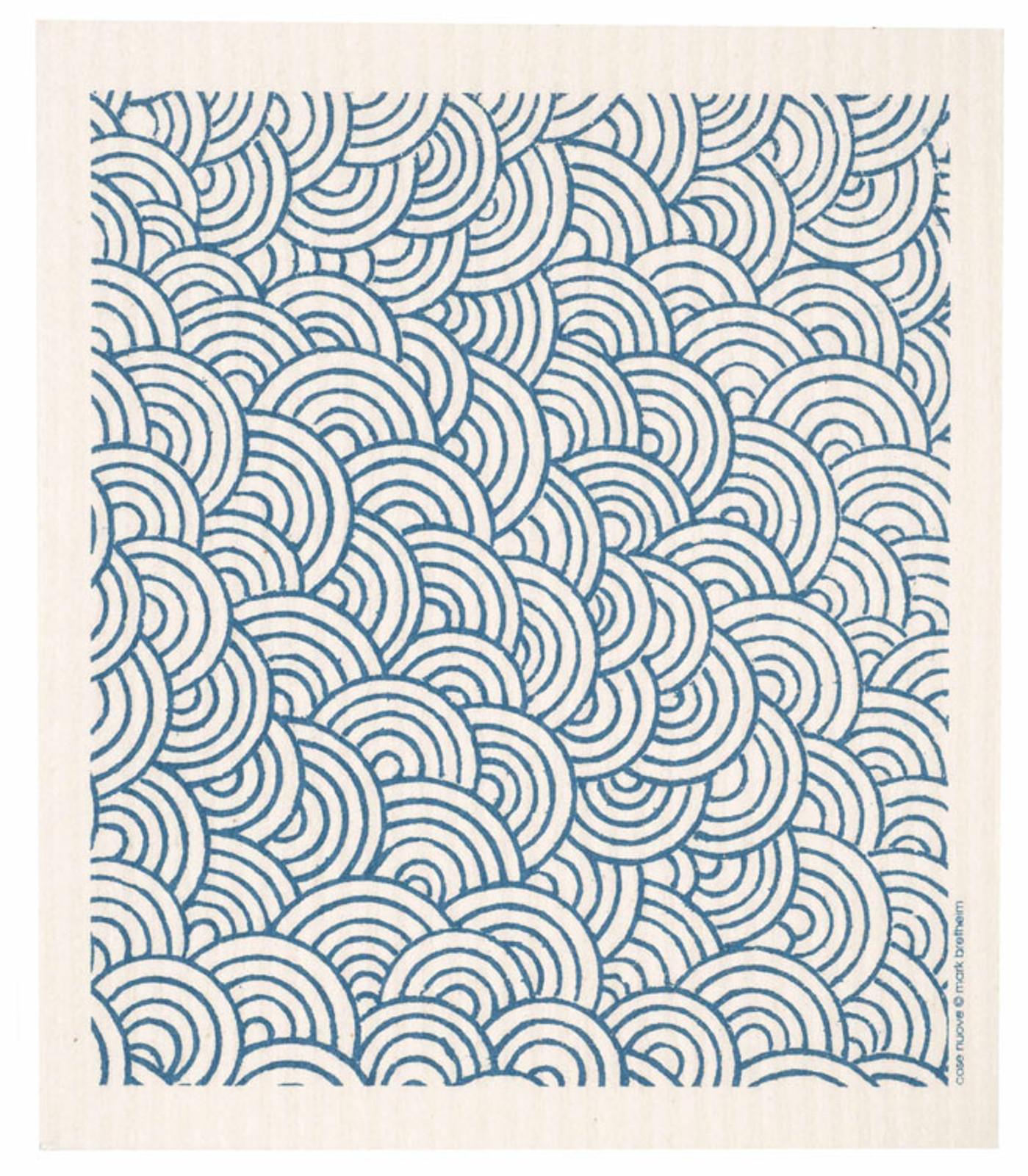 Swedish dish cloth, Blue Circles design