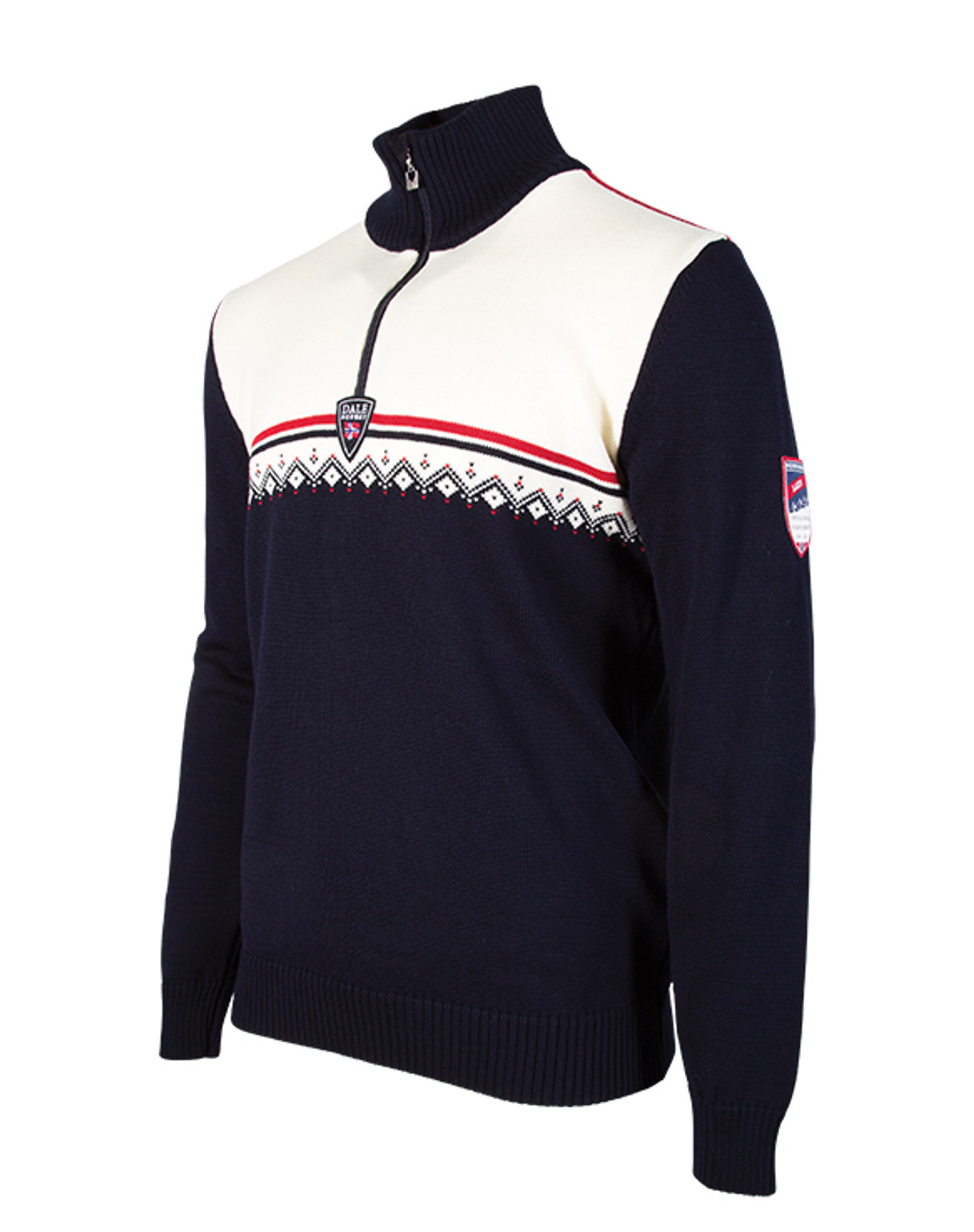 Alternate view of the Dale of Norway Lahti Sweater, Mens, inNavy/Raspberry/Off White, 93241-C