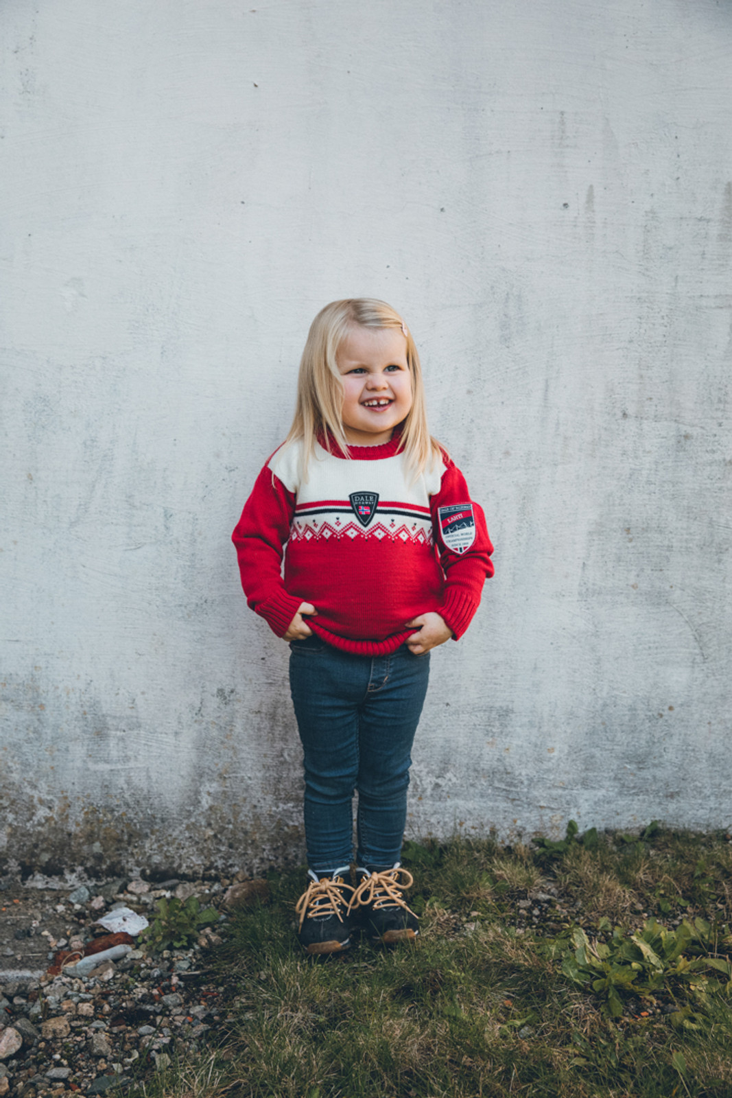 Child wearing Dale of Norway, Lahti childrens sweater in Raspberry/Off White/Navy, 93311-B
