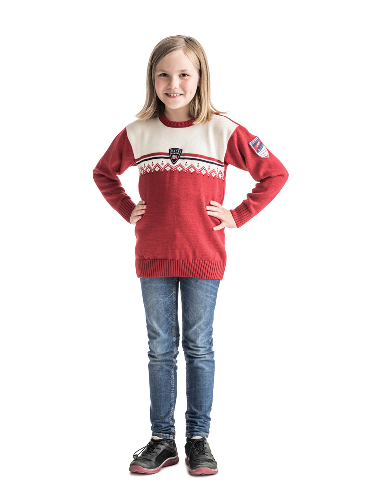 Young Girl wearing Child wearing Dale of Norway, Lahti childrens sweater in Raspberry/Off White/Navy, 93311-B