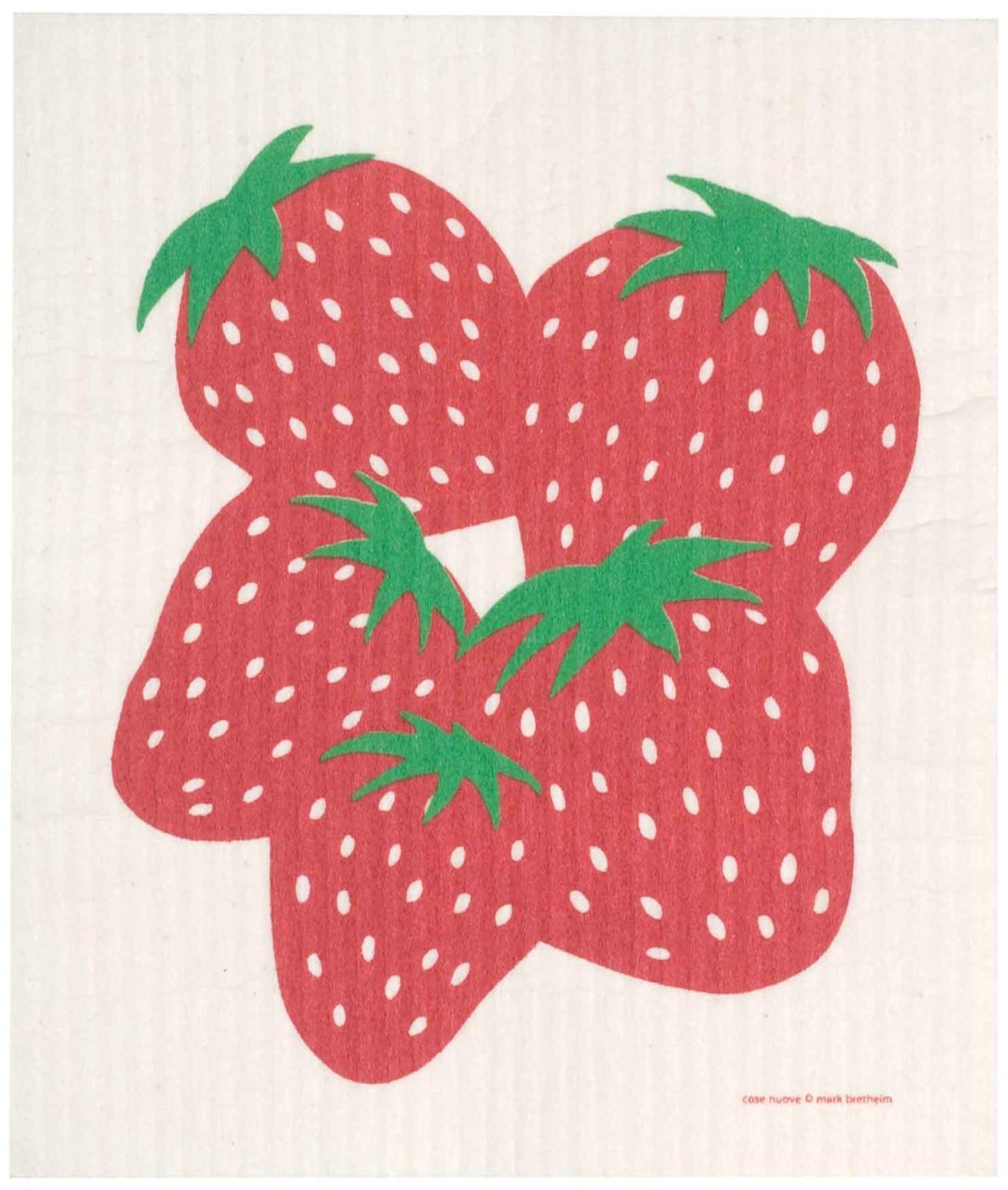Swedish dish cloth, Strawberries design