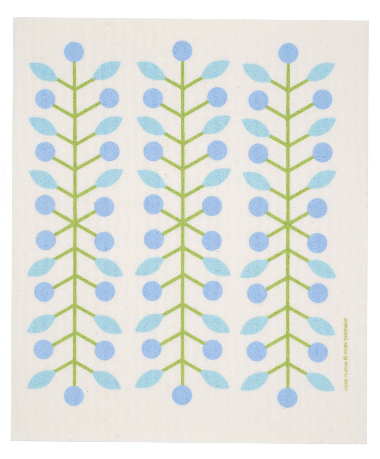 Swedish dish cloth, Blue Berry Branch design