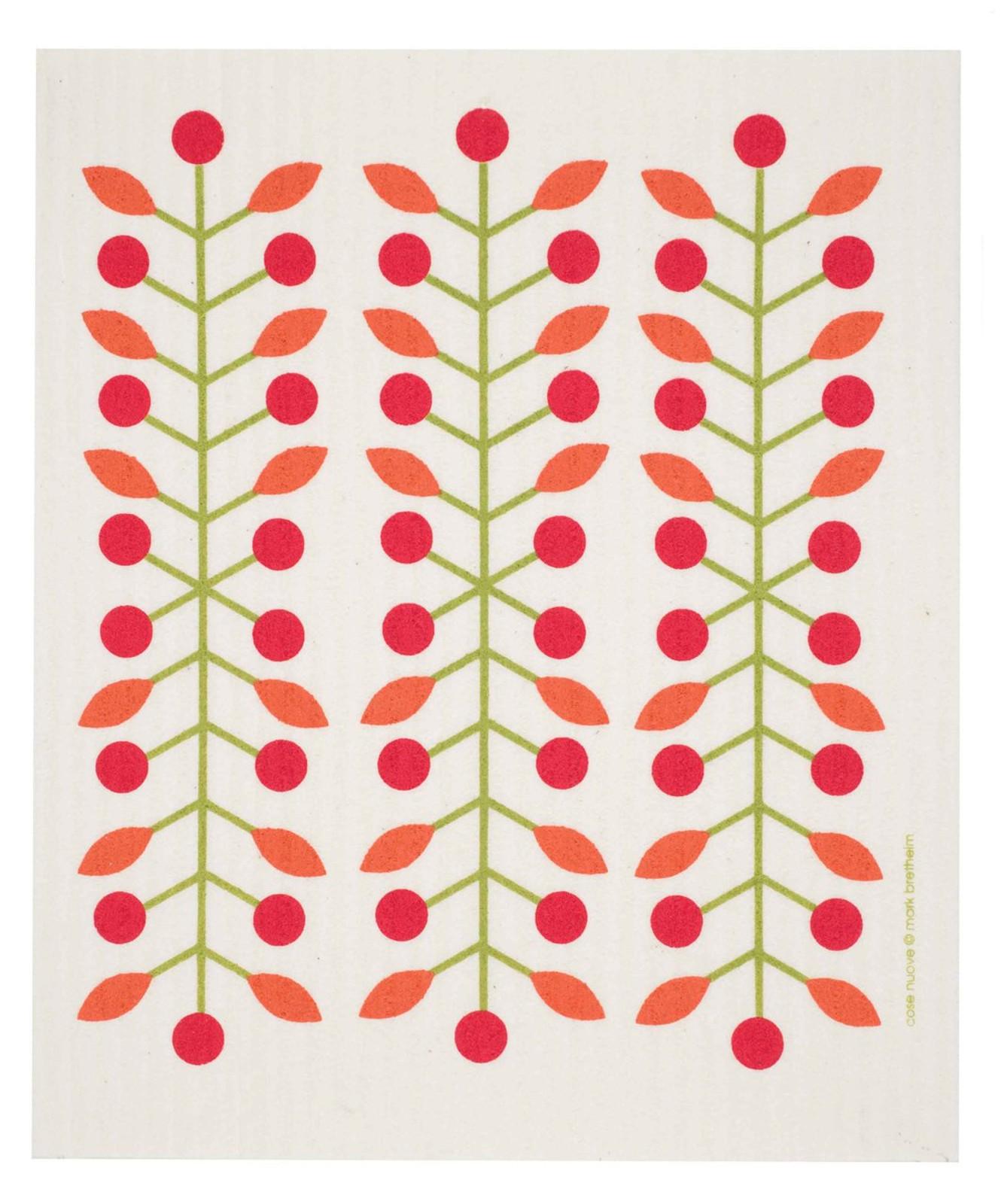 Swedish dish cloth, Red Berry Branch design