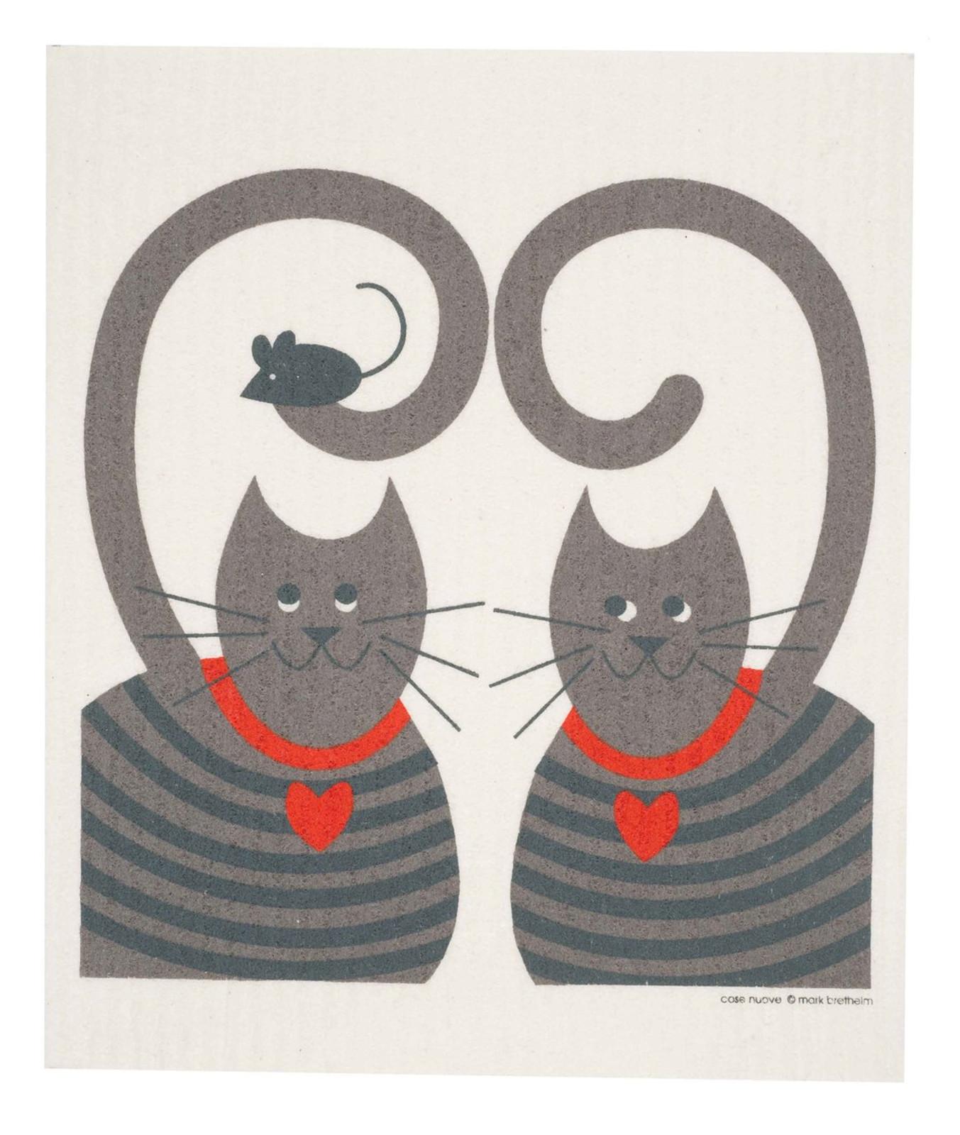Swedish dish cloth, Cats design