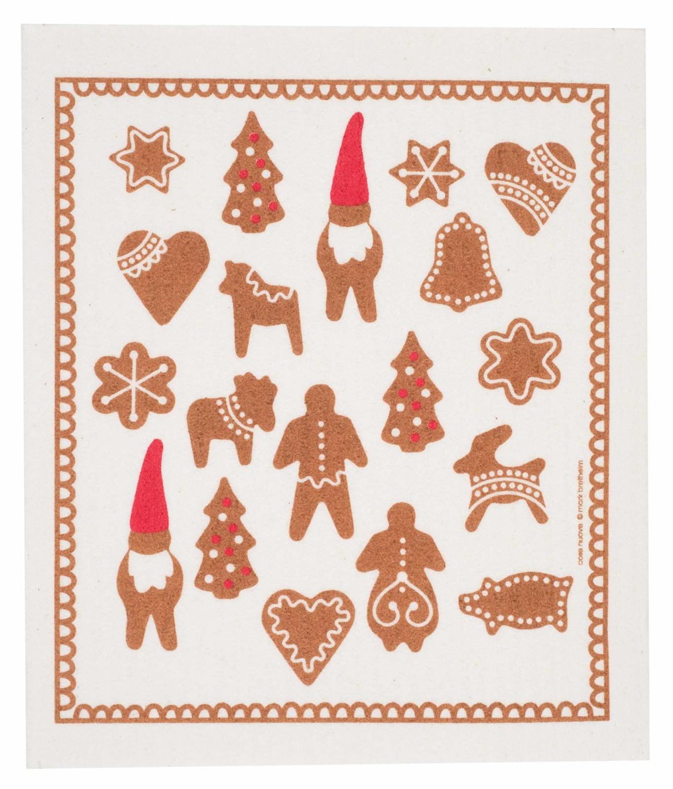 Swedish Christmas dish cloth, Gingerbread design