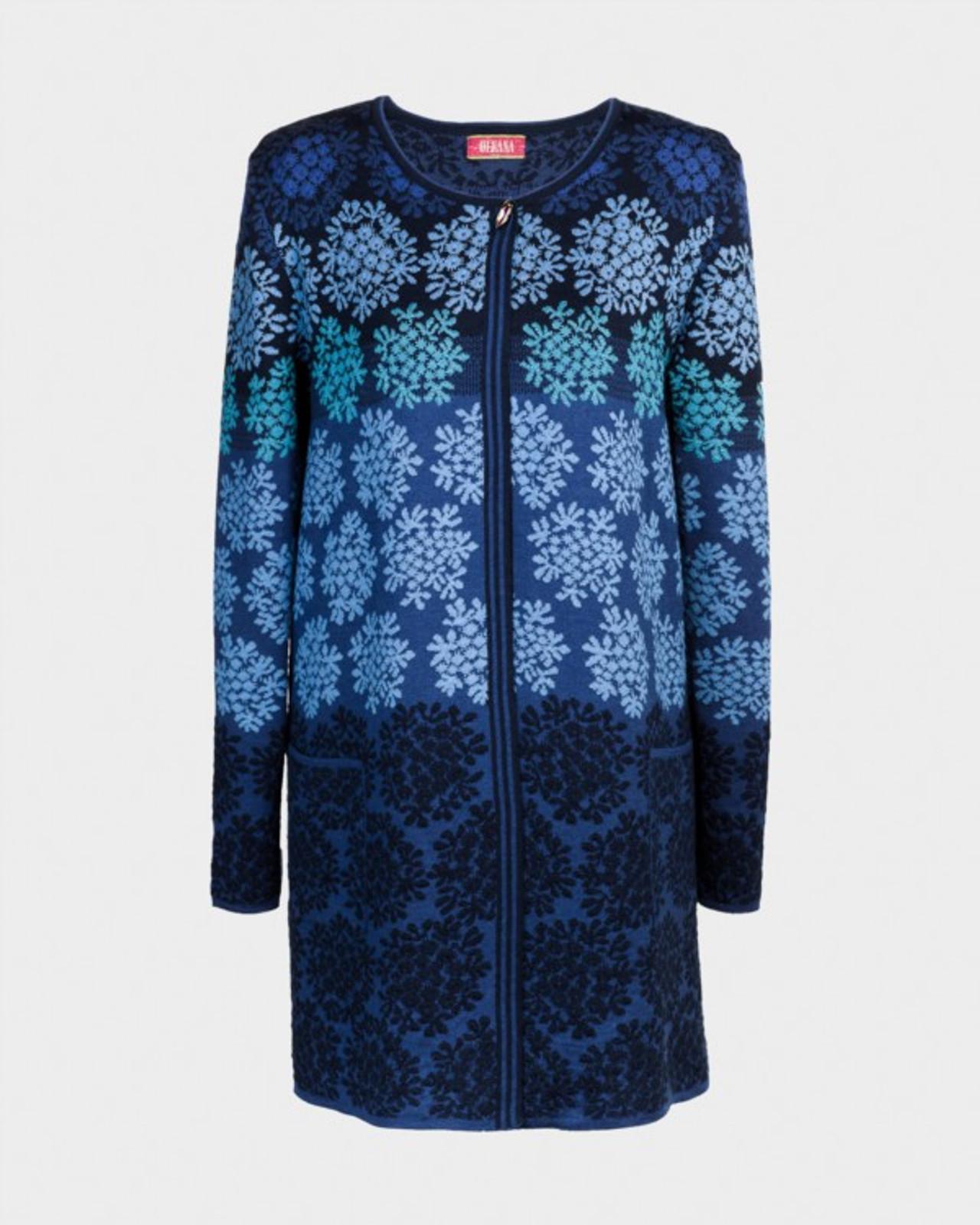 Anne Oleana Long Length Cardigan, Flowers, 330F Blue