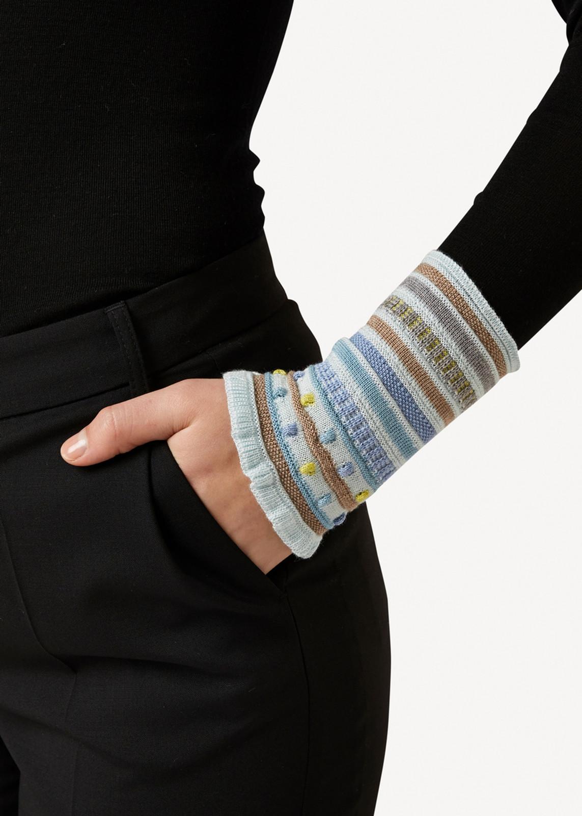 Amelia Oleana Popcorn and Stripe Wristlet, 347Q Light Blue