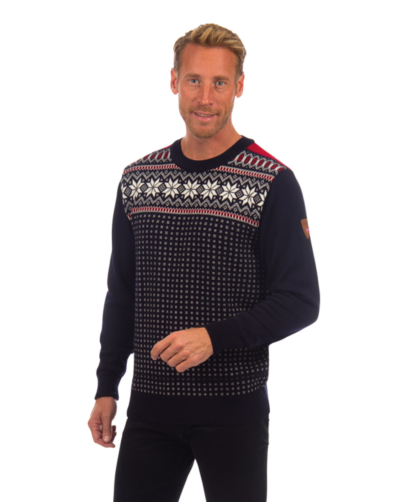 Alternate view of the Dale of Norway Garmisch Sweater, Mens, in Navy/Off White/Raspberry, 92611-C