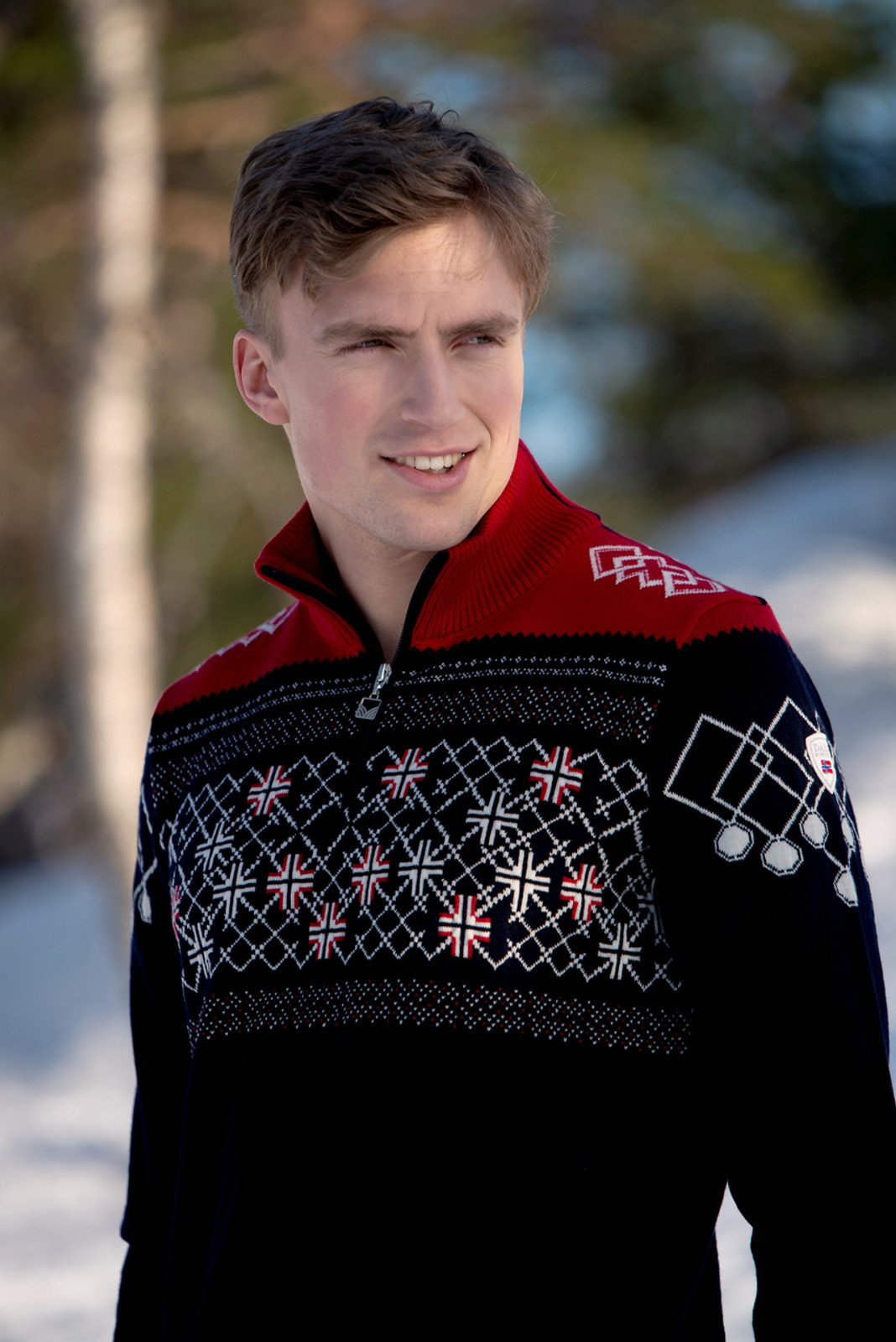 Man Wearing Dale of Norway Mens Podium Pullover Special Edition Sweater, 94211C